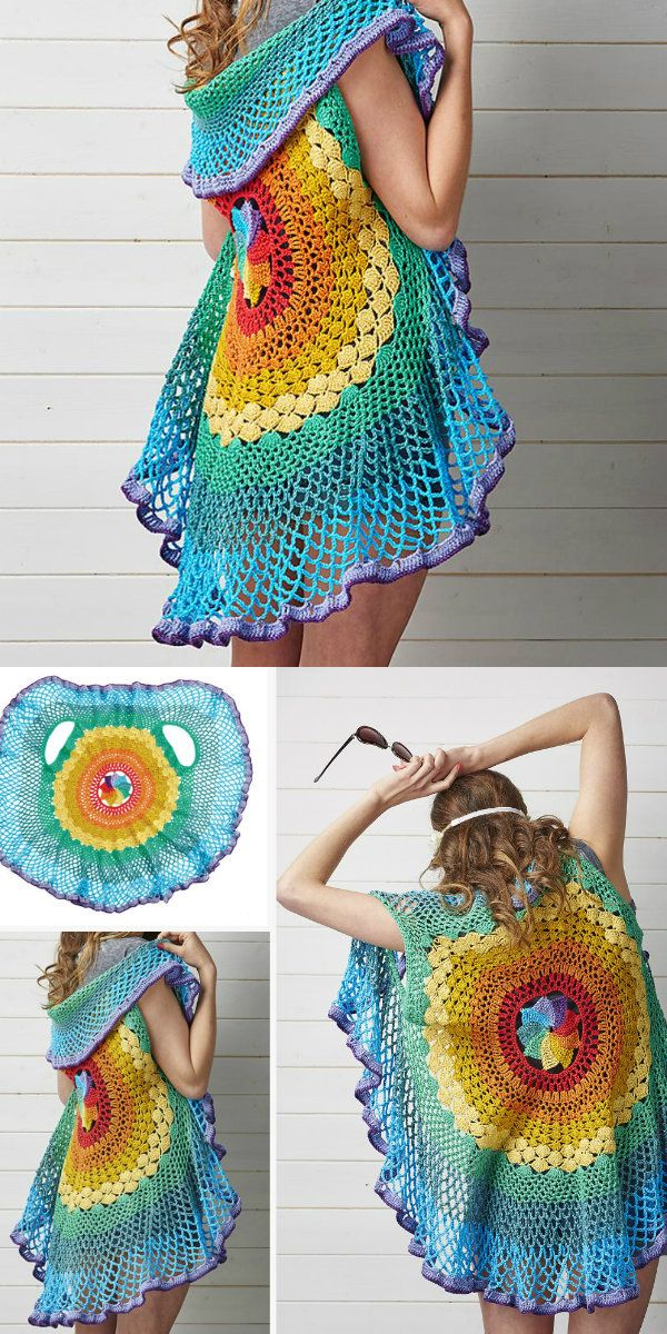 Sunset Mandala Circular Vest Free Crochet Pattern | Sewing ...