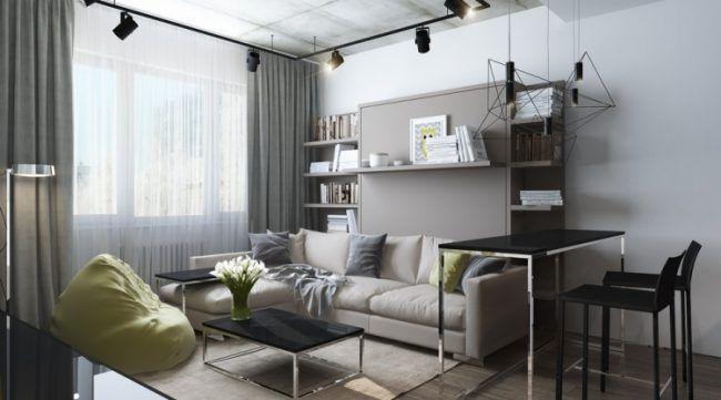 Kleine Wohnung Einrichten  30qm Couch Hell Industrial Design Strahler