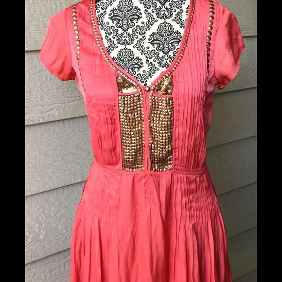Stunning Calypso Beaded Dress Calypso St. Barths coral dress with gold sequins, beads and studs. Size XS. Absolutely gorgeous on! Calypso St. Barth Dresses Midi