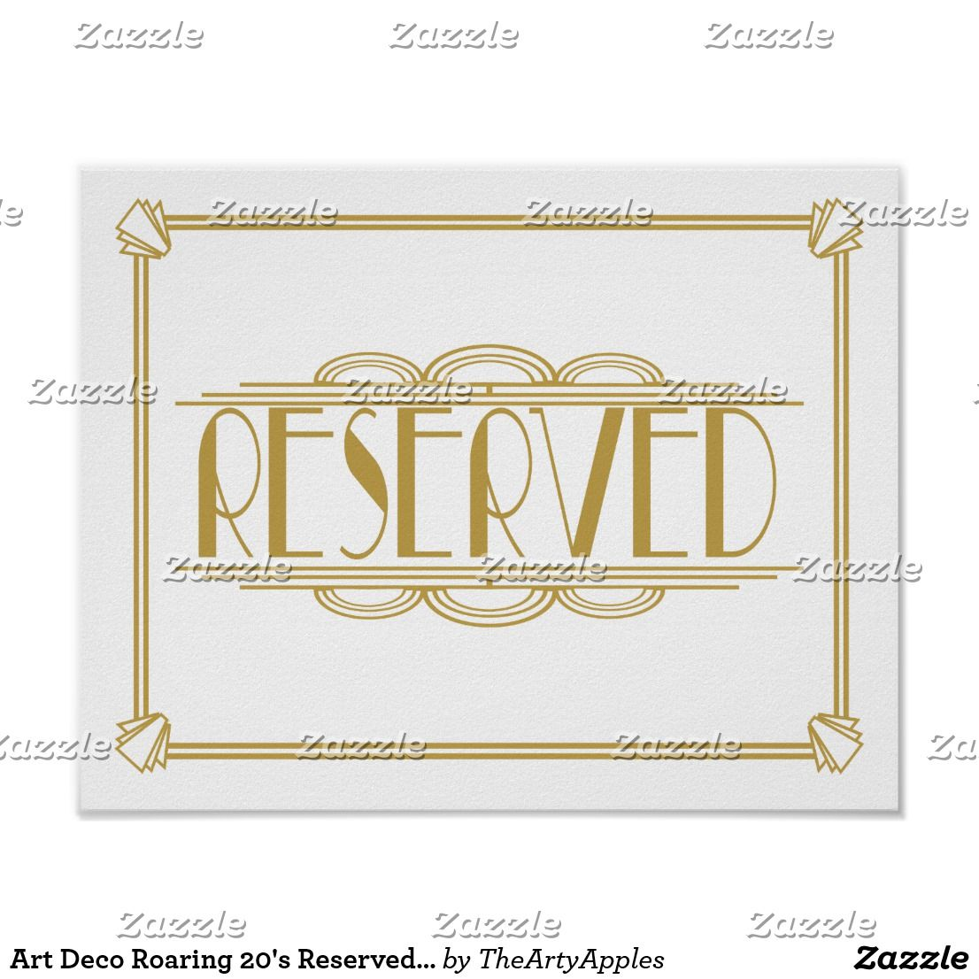Art Deco Roaring 20 S Reserved Sign Print