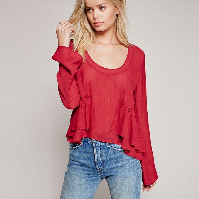 Flare Sleeve Ruffles Chiffon Blouse Plus Size Camisas Femininas 2016 Fashion Blusas Long Sleeve O-neck Women Tops Shirts C438