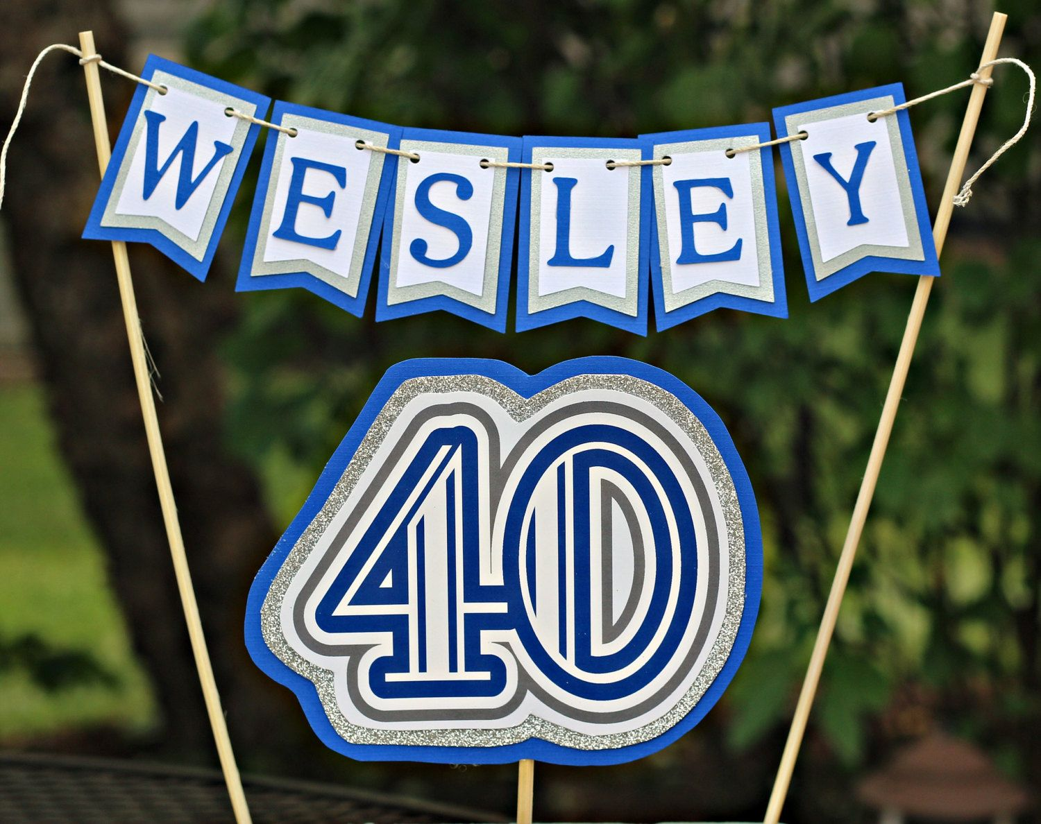 40th Birthday Birthday Cake Topper Royal Blue Silver party