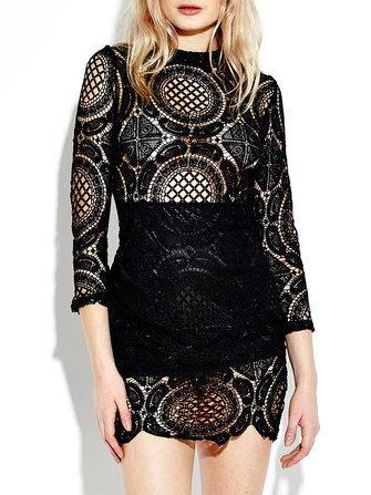 4f92fcd9feb Women Long Sleeve Lace Crochet Hollow Out Splicing Mini Dress in ...
