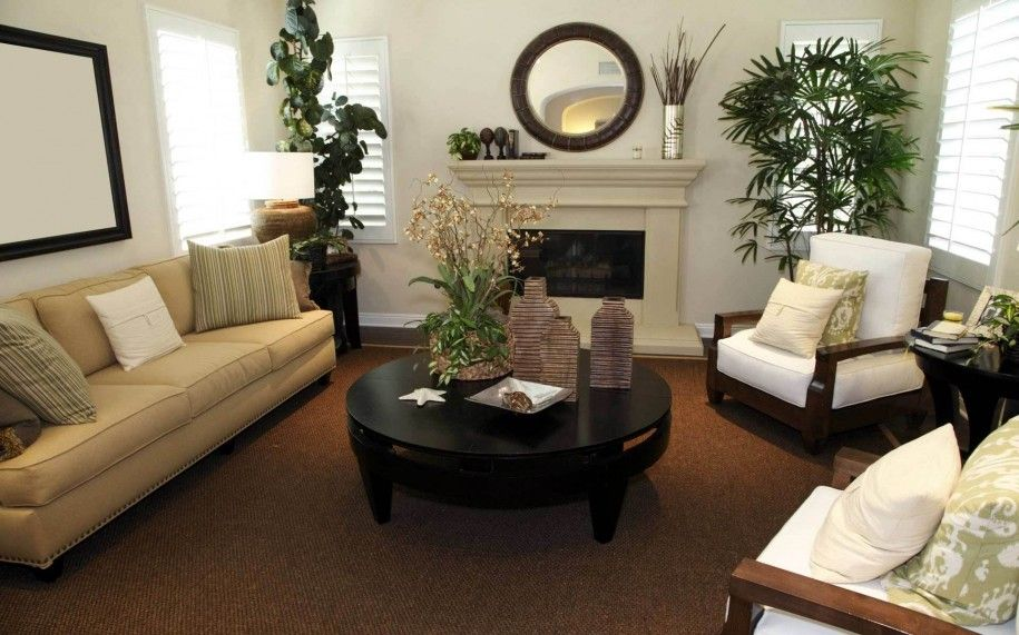 Rooms With Dark Brown Carpet | Living Room: Contemporary Living Room With  Sofa And Brown