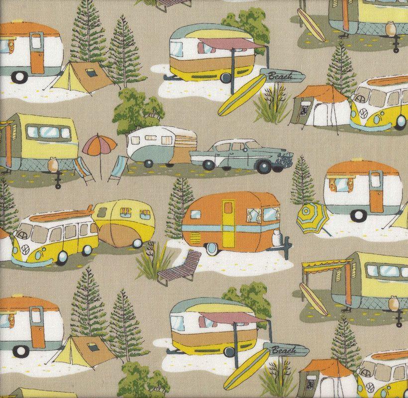 Retro Caravans Kombi Vans Tents Camping New Zealand NZ Quilt Fabric - Find a Fabric Fabric ...