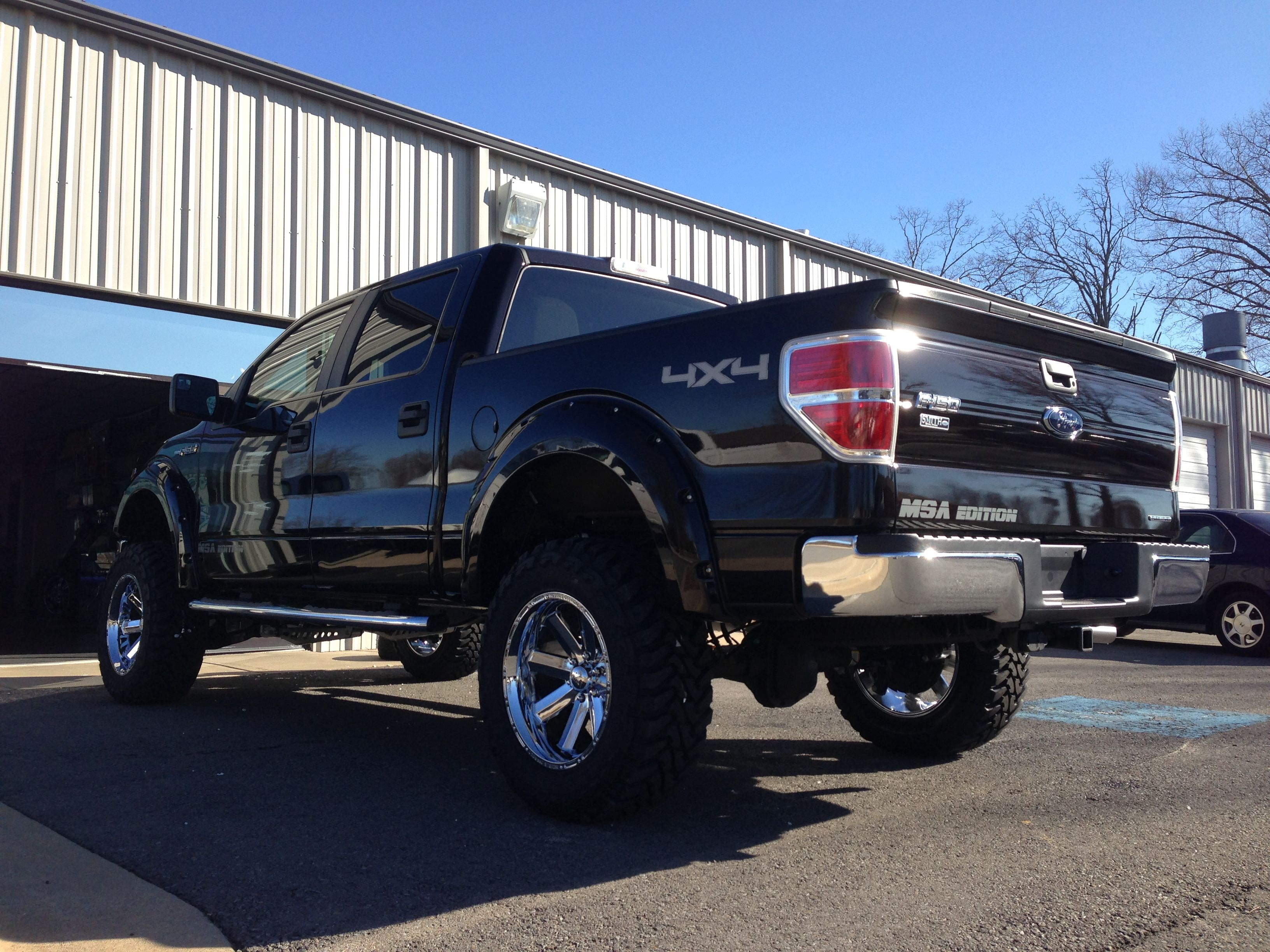 """2013 MSA Edition Kodiak Brown F150 - 6.5"""" McGaughy's lift, paint matched Bushwhacker pocketed fender flares, 20"""" Incubus off road wheels, 35x12.50 R20 Toyo Open Country MT, heated leather seats, and tint."""
