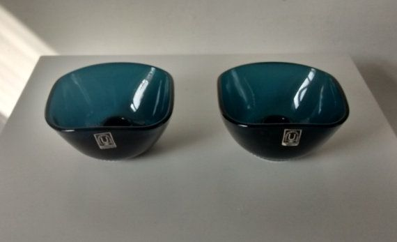 Pair of Swedish Glass Candle Holders for J. Wuidart & by Eddystone