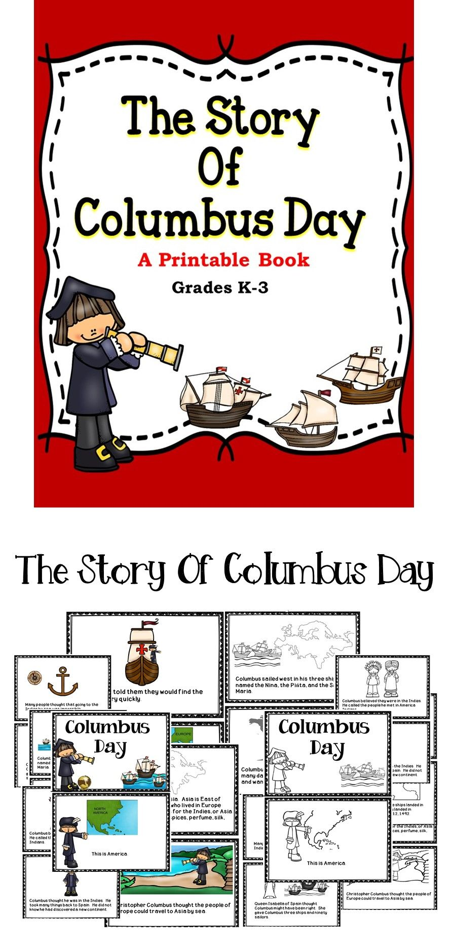 Columbus Day Printable Books Education Quotes For Teachers Elementary Books