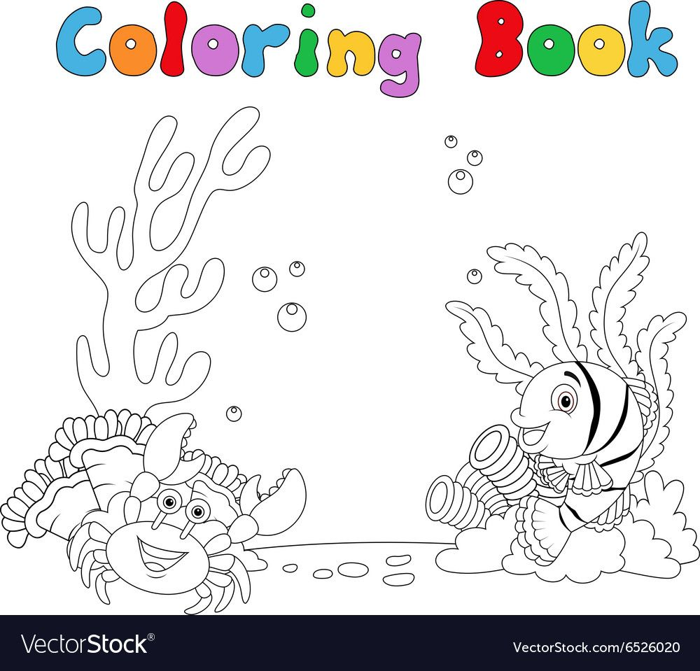 Illustration Of Cartoon Under Water Coloring Book Download A Free Preview Or High Quality Adobe Illustrator Ai Eps Pdf A Coloring Books Color Coloring Pages