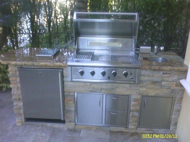 Outdoor Bbq Custom Kitchen With Built In Grill By Cooking