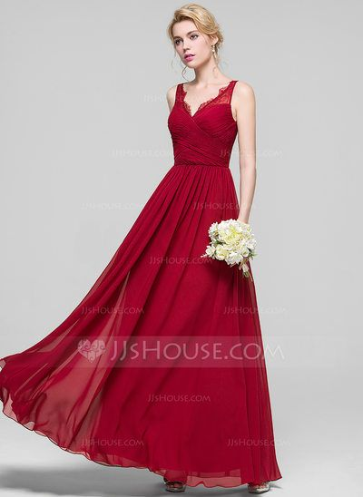 e6a4317cfdd  US  119.99  A-Line Princess V-neck Floor-Length Chiffon Prom Dress With  Ruffle Lace (018112658)
