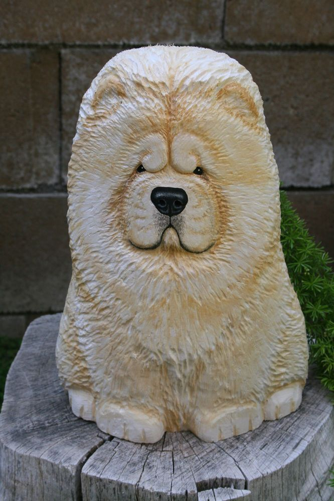 Wood Carved Rough Chow Chow Dog Sculpture Ooak Lisa Rogers