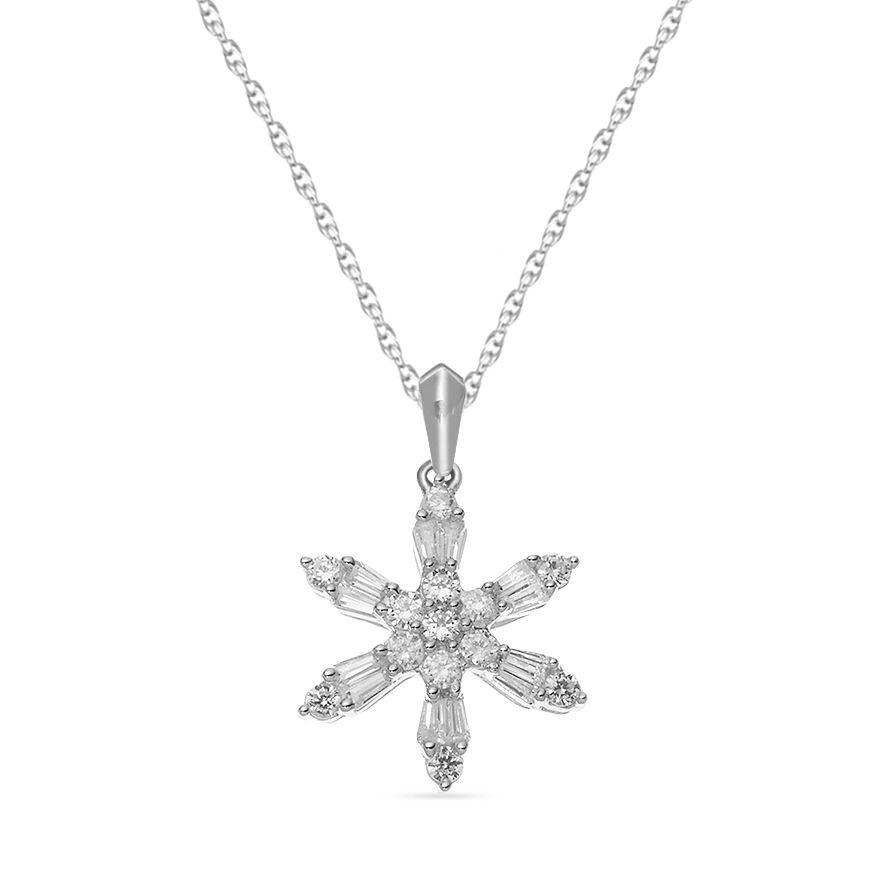 10k White Gold Over Created White Topaz Snowflake Pendant With Chain Necklace In 2020 Snowflake Pendant Silver White Gold