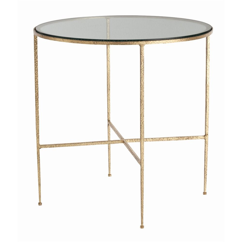Off Winchester Gold Leaf Side Table By Arteriors Home. @ Round Hammered  Iron Side Table With Textured Gold Leaf Finish Features Clear Glass Top