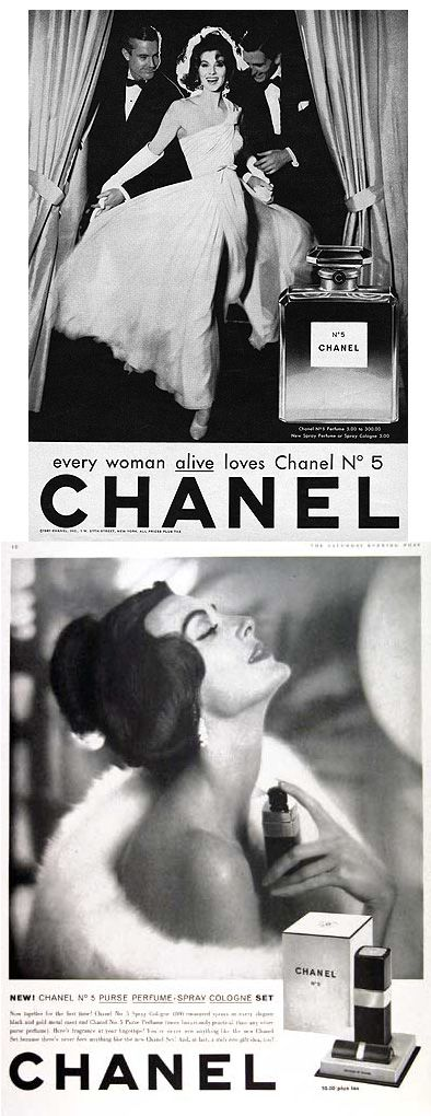1957-1959  Chanel No.5 ads featuring Suzy Parker.