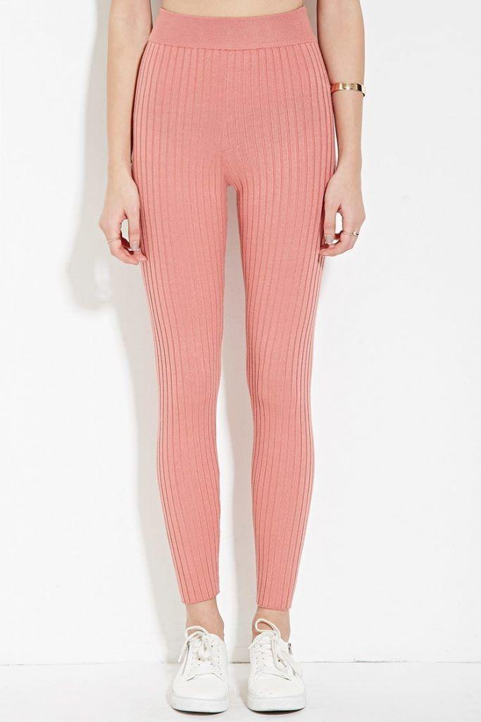39ea0541e2913 Forever 21 Ribbed Knit Leggings In Pink Lyst Pink Leggings ...