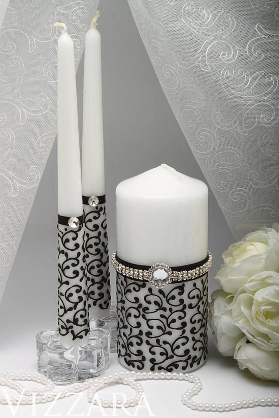 Wedding Black Candles Unity Ceremony Personalized Set Flutes Toasting