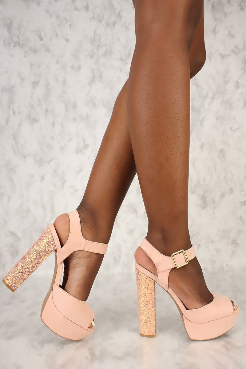 5cde59fe872 Sexy Soft Blush Peep Toe Platform Pump Sequin Chunky High Heels Faux Suede