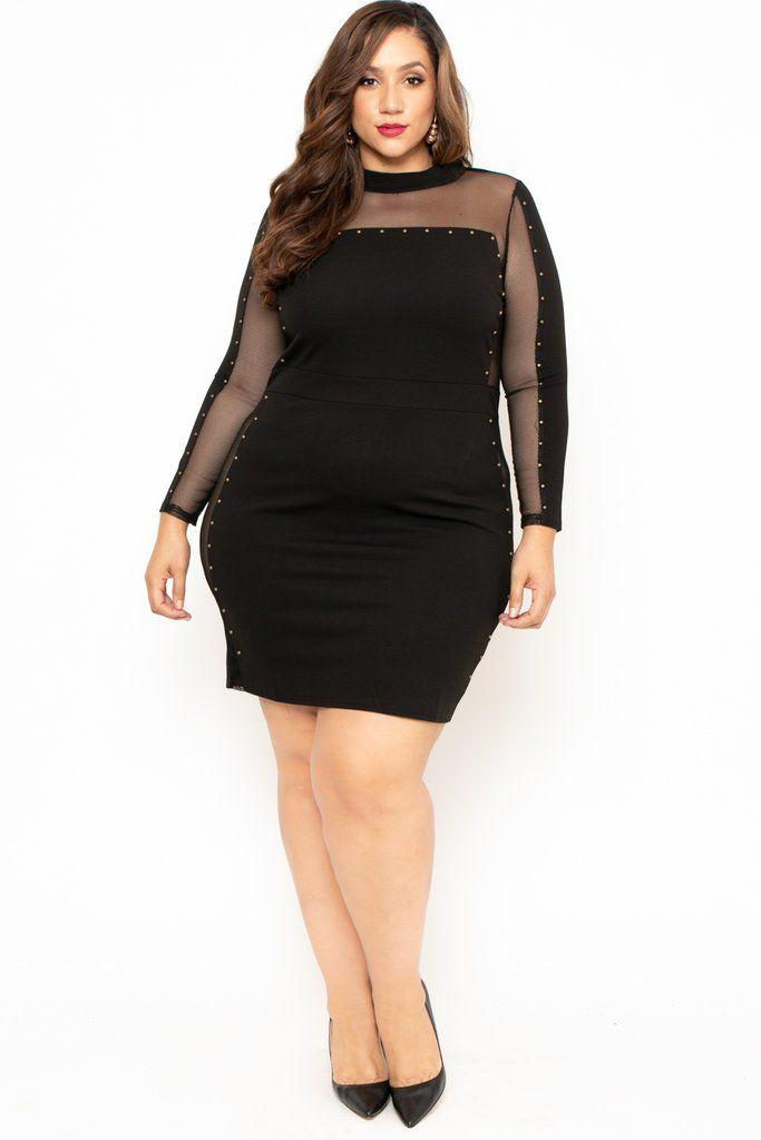 Plus Size Studded Mesh Dress Black In 2019 Plus Size Fashion