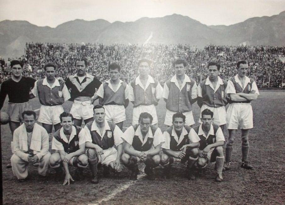 Independiente Santa Fé,1950,Charles Mitten, tercero agachado de Izq. a Der.