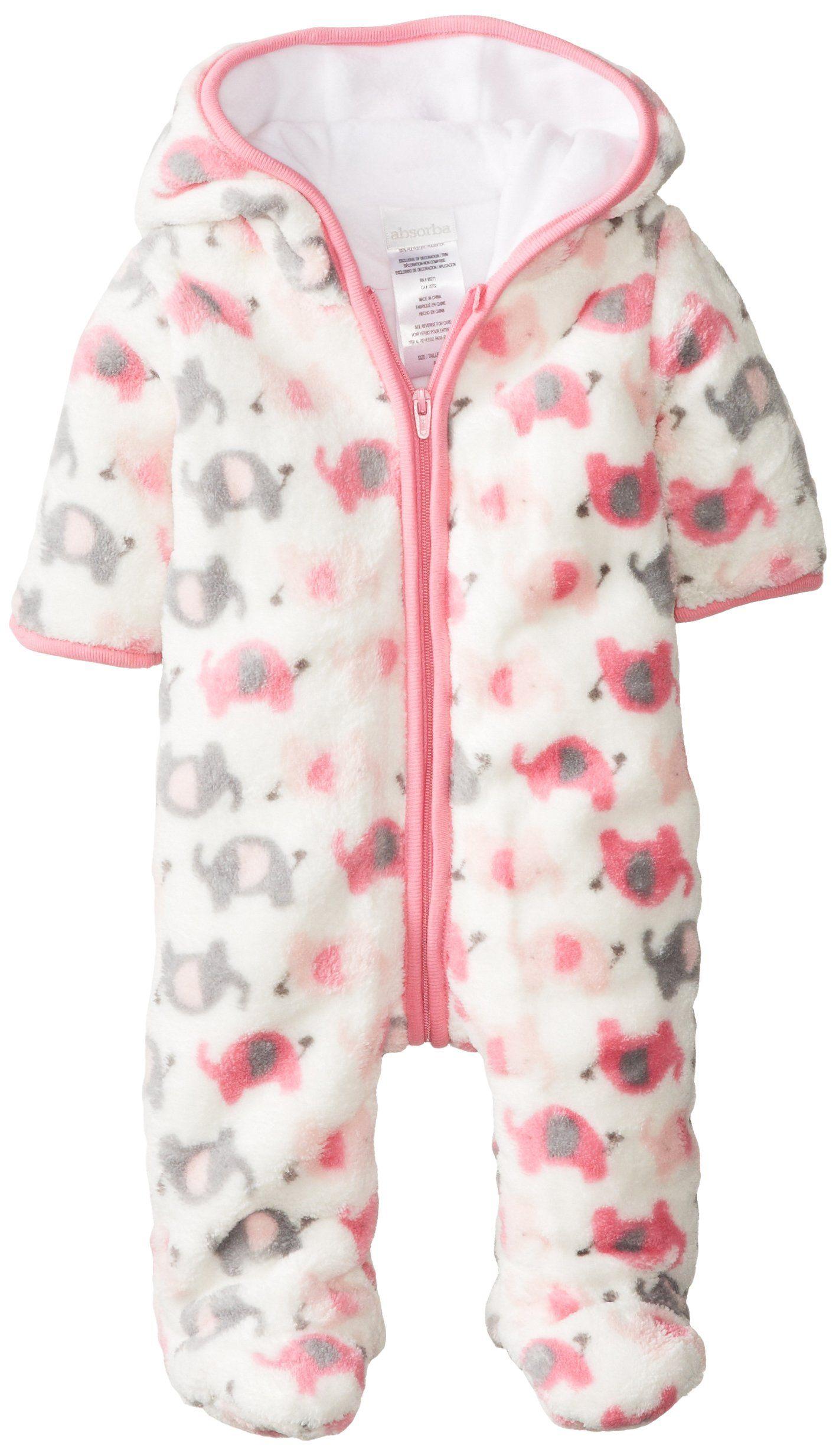 Absorba Baby Girls Newborn G Elephant Fuzzy Footie Pink