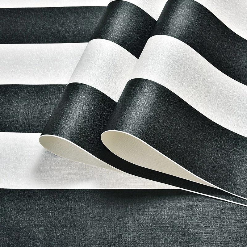 Modern Black White Horizontal Vertical Stripes Wallpaper