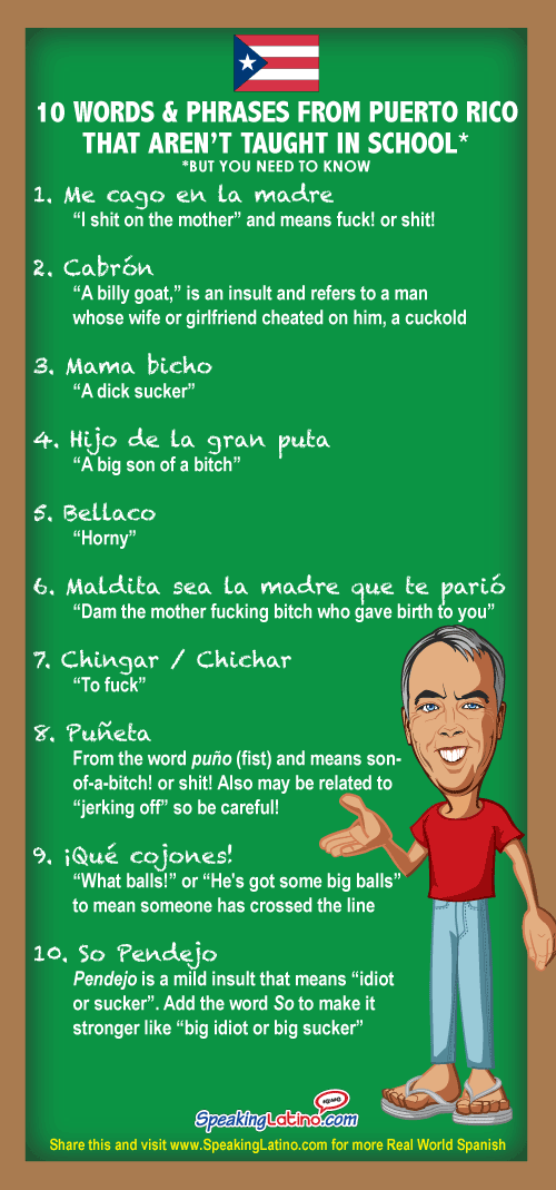10 Vulgar Spanish Slang Words And Phrases From Puerto Rico Infographic Spanish Slang Words Puerto Rican Memes