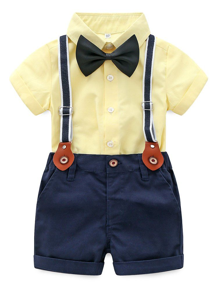 6cb814f4ba154 Abolai Baby Boy Summer Cotton Gentleman Short Sleeve Bowtie Romper  Suspenders Shorts Outfit Set Style2 Yellow