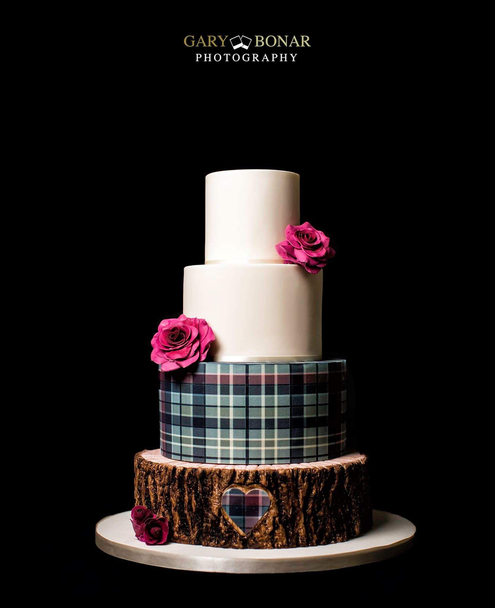 4 Tiered Scottish Wedding Themed Cake, Tree Stump, McLean Tartan Icing with  Ivory Fondant