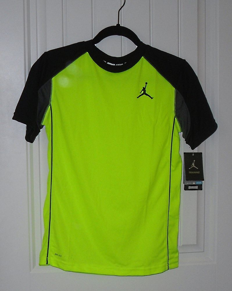 b170792e4577c1 NWT Boys NIKE Dri Fit Air Jordan Training Neon Green Silky Shirt - Sz 6