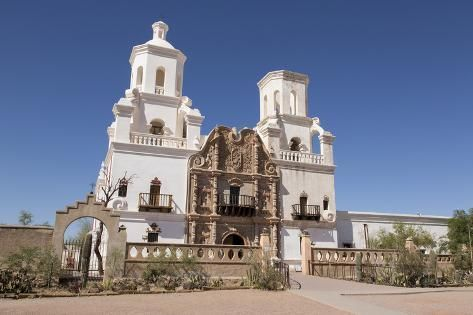 size: 24x16in Photographic Print: Arizona, San Xavier Indian Reservation. San Xavier Del Bac Mission by Jaynes Gallery : Fine Art