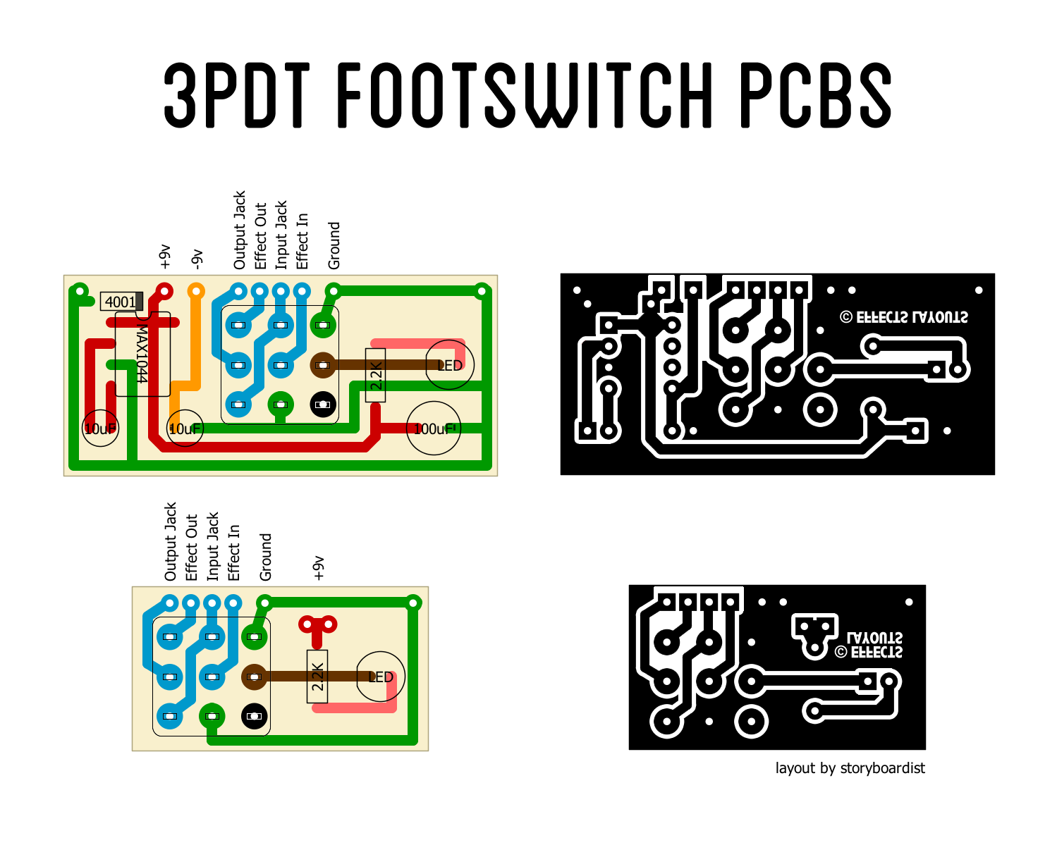 printed circuit board layout for 3pdt bypass system with max1044 based charge pump for positive ground  [ 1499 x 1199 Pixel ]