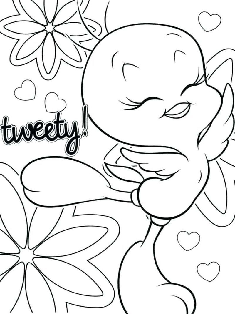 Tweety Bird Coloring Pages Easy In 2020 Bird Coloring Pages Coloring Pages Heart Coloring Pages