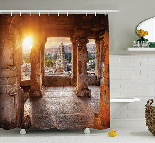 Home Decor Shower Curtain Set By Ambesonne Interior Of A Traditional Pagoda Place Belief