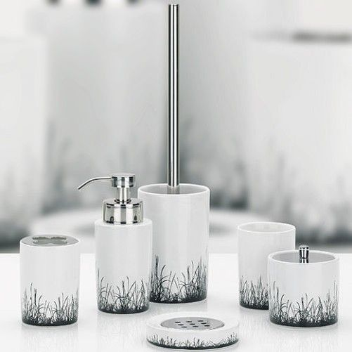 bath set lapata white ceramic bathroom accessories toilet brush soap dispenser view