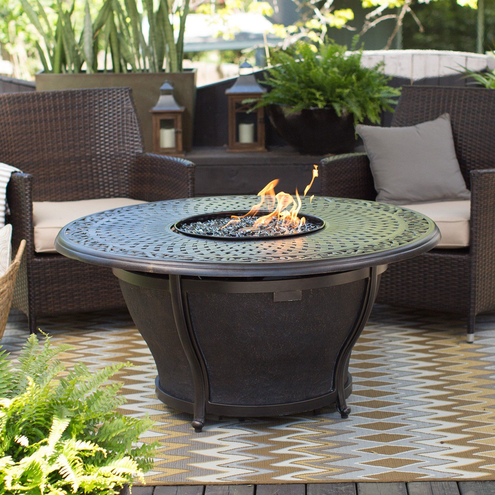 Red ember by agio charleston 48 in round fire pit table with free cover from hayneedle com