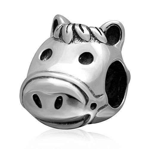 Horse Charms Genuine 925 Sterling Silver Playful Animals Head Charms Bead for European Charms Bracelet nwFeVjcw8