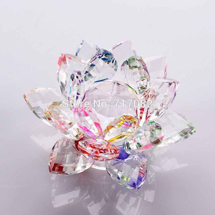 9cm Quartz Crystal Glass Lotus Flower Crafts Feng Shui Crystals Miniaturas For Home Wedding Decoration Home Wedding Decorations Home Wedding Feng Shui Crystals