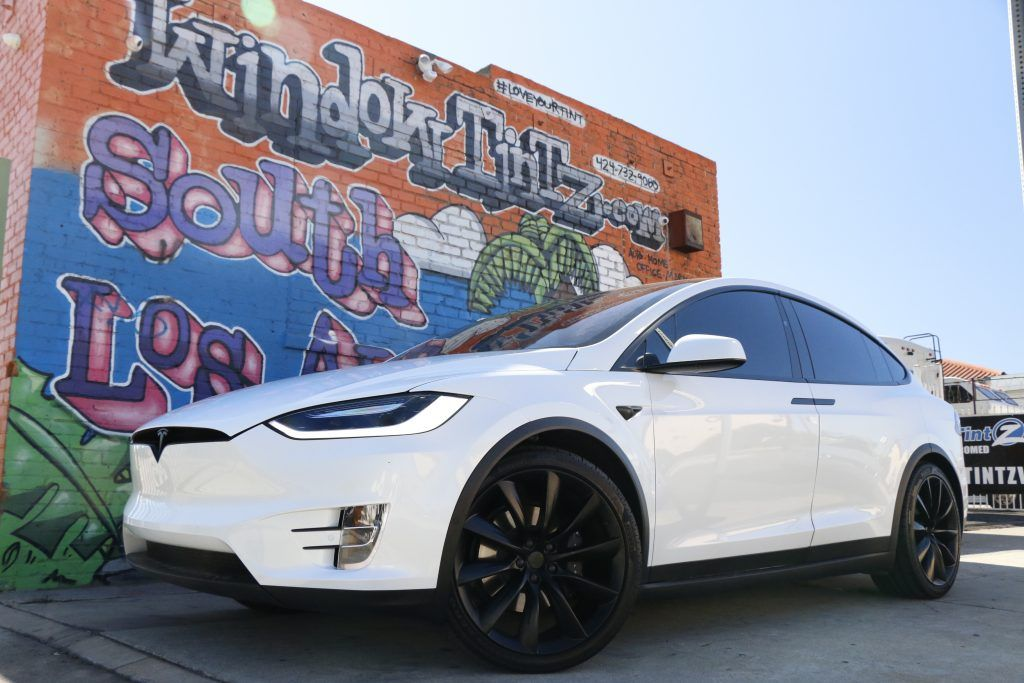 White Tesla Model X Chrome Delete Window Tint Z Los