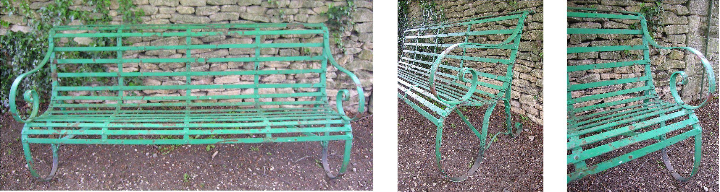 Mid 19th Century Victorian wrought Iron strap work Garden Bench HUTCHISONANTIQUES.COM