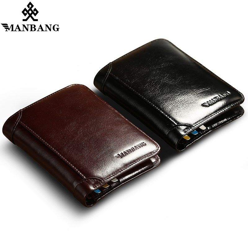 ee590e2a70aac ManBang Genuine Leather Men Wallets Short Coin Purse Small Vintage Wallet  Cowhide Leather Card Holder Pocket