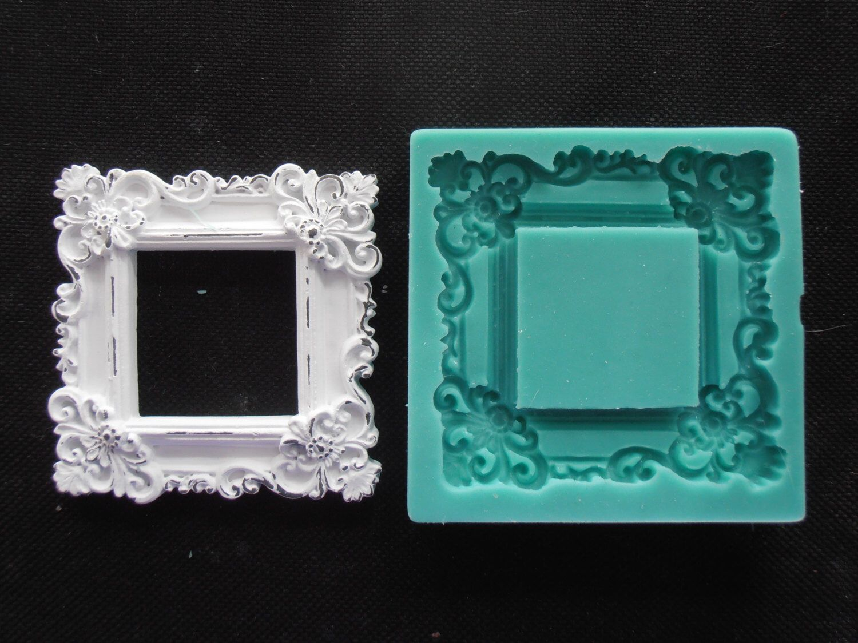 Silicone Mould Frame Square 2 Sugarcraft Cake Decorating Fondant Fimo Mold Fimo Molds Candle Molds Diy Frame