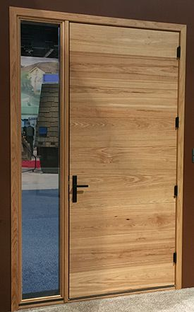 Photo Of Kolbe Hickory Plank Inswing Entrance Door Interior At Intl Builder  Show