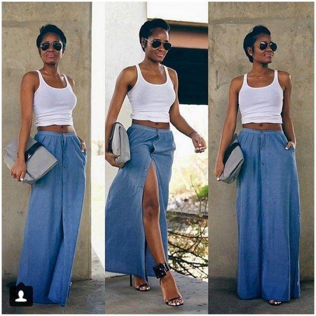 20 filles qui vont vous donner envie de porter une jupe en jean denim fashion casual styles. Black Bedroom Furniture Sets. Home Design Ideas