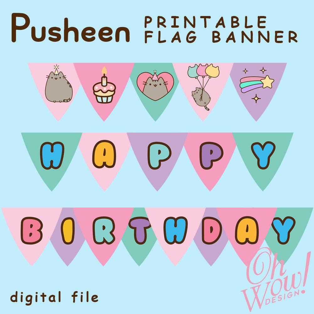 Cat Birthday Banner: Tsum Tsum Flag Banner Digital File By OhWowDesign On Etsy