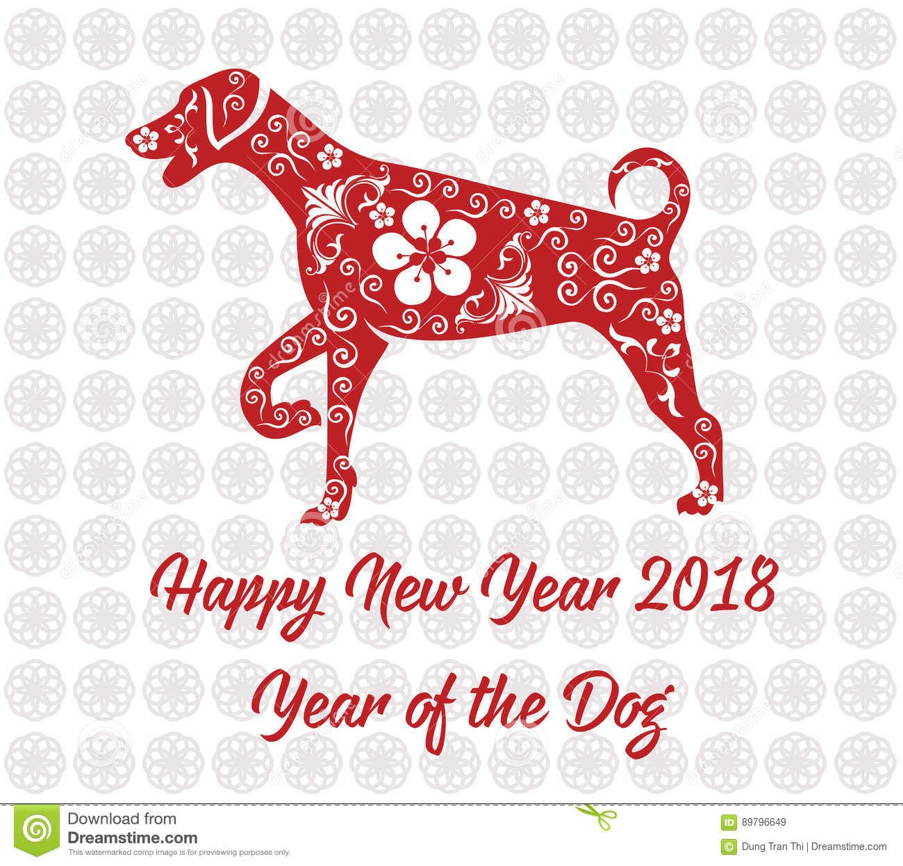 Happy Chinese new year 2018 card year of dog. | Chinese themes ...