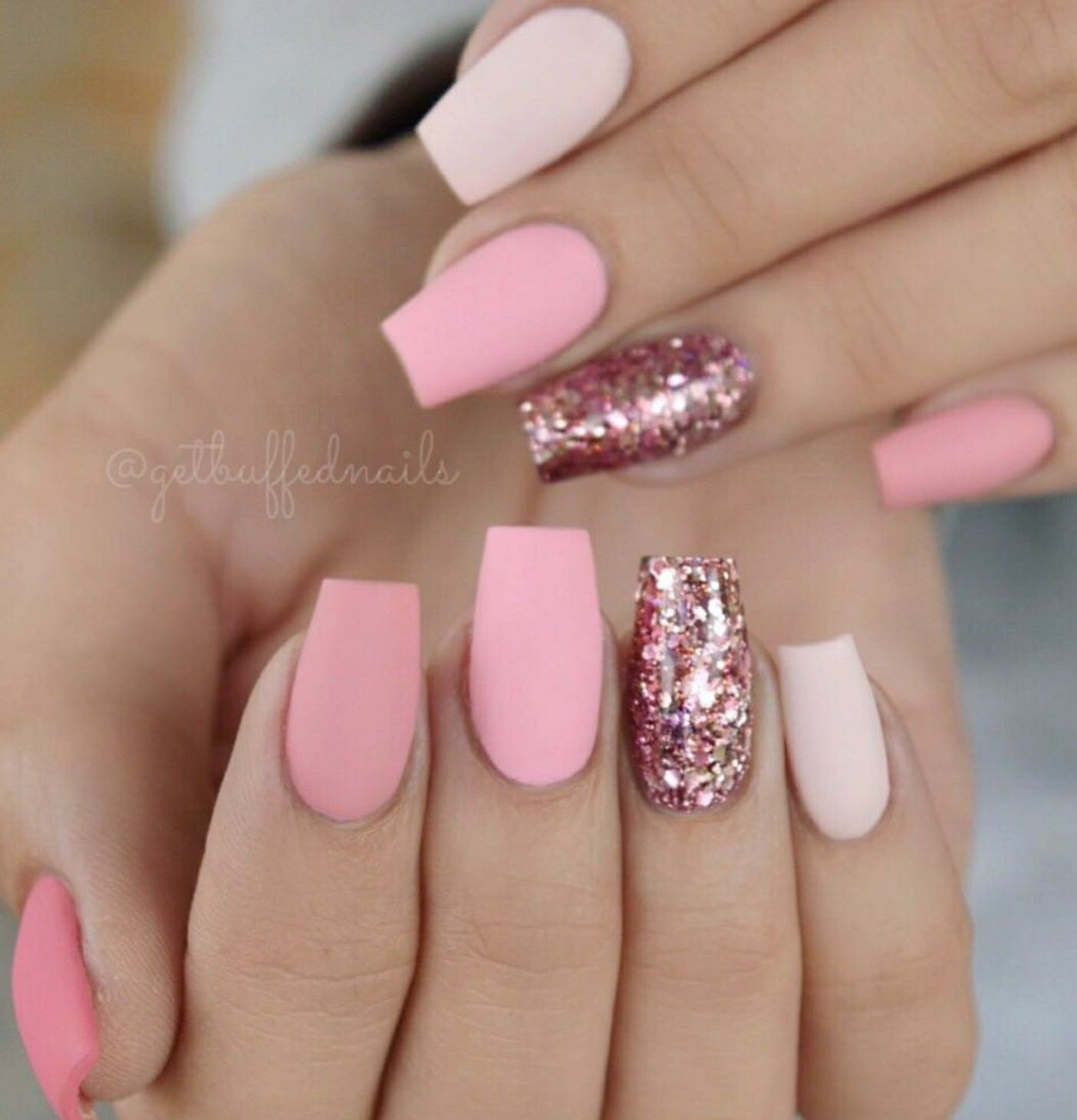 Tapered Square Nails. Pink Nails. Glitter Nails. Matte Nails ...
