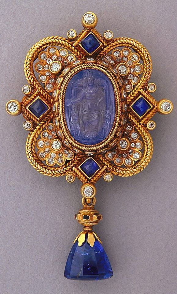 sapphire valle diamond brooch and della pin convolvolo michele