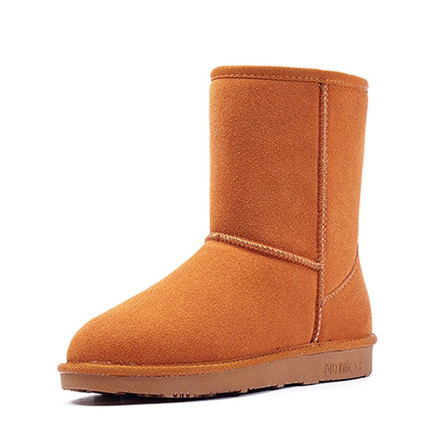 30f73f86c8d Unisex Leather Winter Outdoor Flat Mid-Calf Snow Boots -- You can find more  details by visiting the image link.