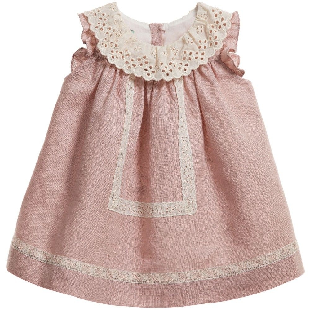 Baby Girls Pink Linen Dress & Knickers Set , Nanos, Girl | WELL ...